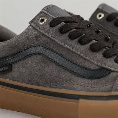 Vans Skool Black Grey vans skool pro shoes grey black gum flatspot