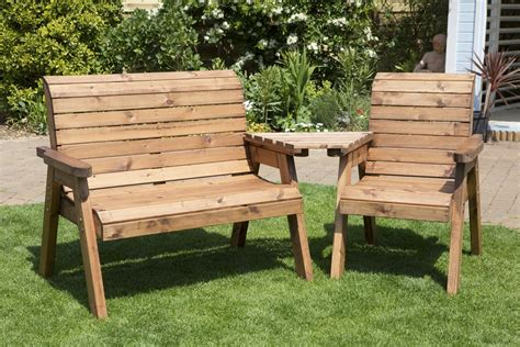 wooden outdoor table with bench seats uk made fully assembled heavy duty wooden garden love seat