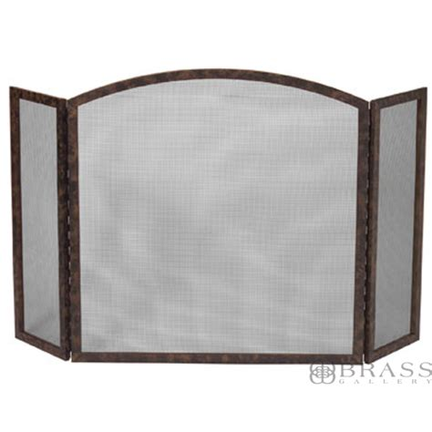 fireplace screen chocolate brown 30 wide center brass