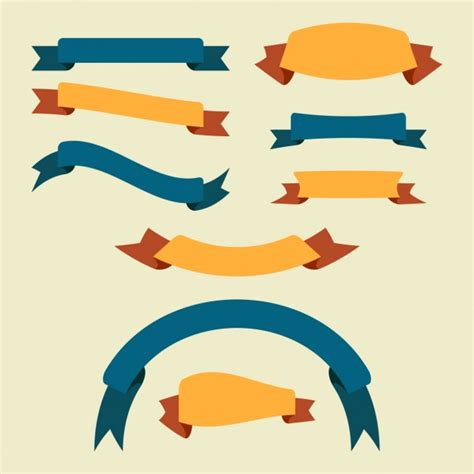 Flat Gold Ribbon flat ribbon collection vector free