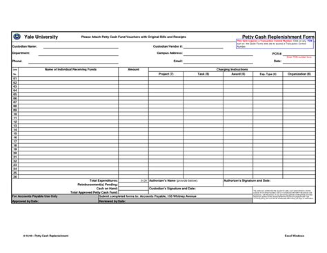 best photos of petty cash replenishment form template
