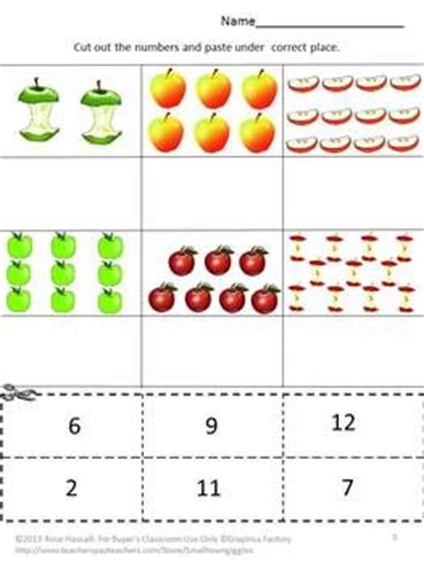 Apple Counting Worksheet by Apples Kindergarten Math Cut And Paste Activities Special