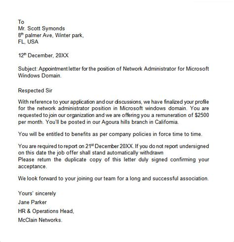 appointment letter templates google docs ms