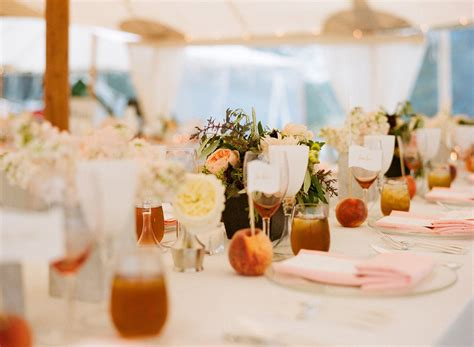 fruit incorporated into wedding reception centerpieces