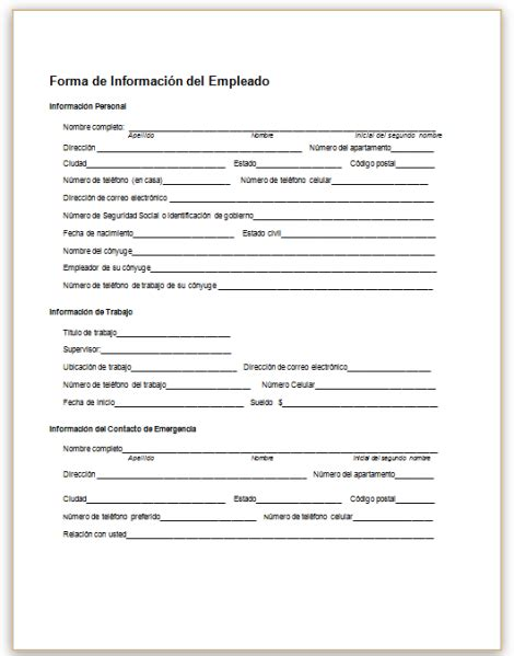 employee info sheet information form 01 efficient moreover