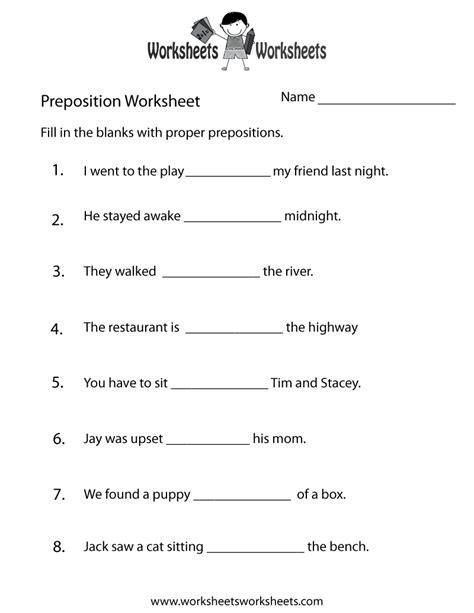 printable preposition quiz preposition test worksheet free printable educational