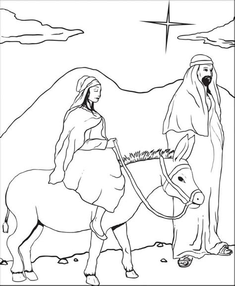 christmas donkey coloring page free printable mary and joseph christmas coloring page for