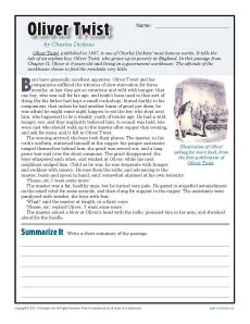 oliver twist 7th grade reading comprehension worksheet