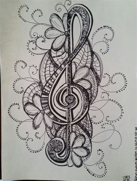 imgs for gt easy music drawing ideas music note zentangle by weirdoonelmstreet on deviantart