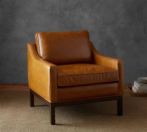 dale leather armchair pottery barn