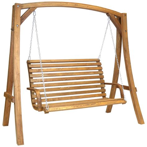 wooden swing bench seat 2 3 seater larch wood wooden garden outdoor swing seat