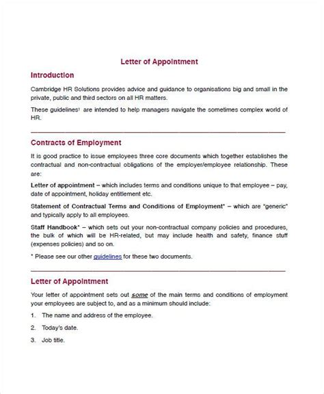 sample appointment letter templates ms word
