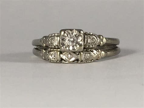 vintage engagement ring and wedding band set