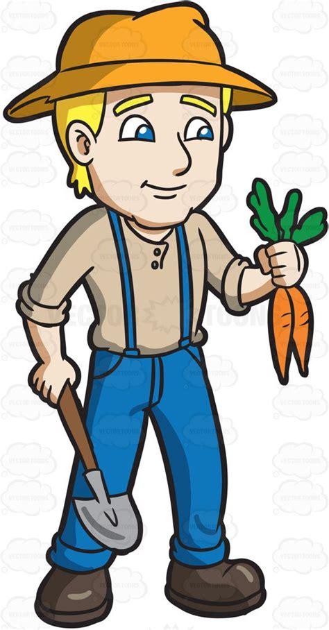 farmer clipart a farmer harvesting carrots clipart by vector