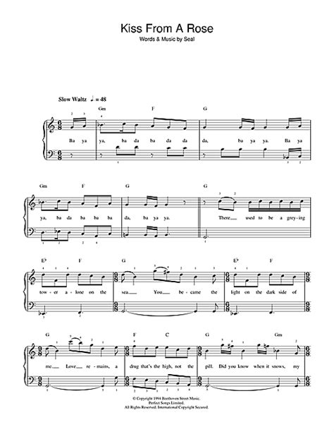 piano tutorial kiss from a rose kiss from a rose sheet music by seal beginner piano 36745