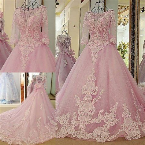 1707026 Pink Gaun Pengantin Wedding Gown Dress pink gown colorful wedding dresses with 3 4 sleeves beaded lace appliques corset back