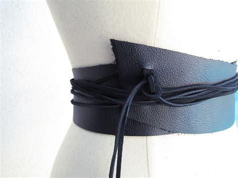diy wide leather wrap belt with edges x2 maegan