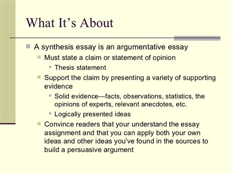 What Is A Synthesis Essay by Synthesis Paper Handout