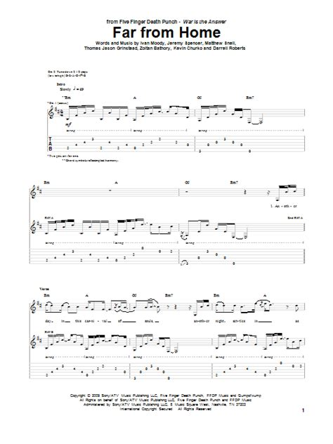 far from home by five finger punch guitar tab