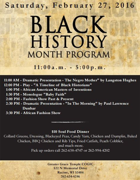 black history program sle flyers pictures to pin on