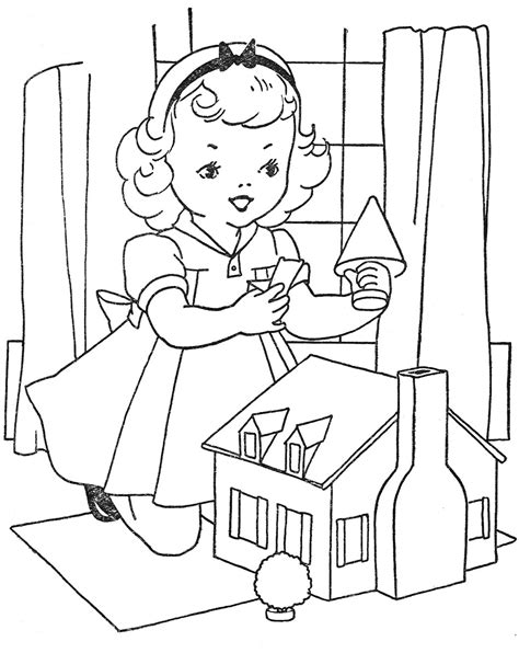 coloring pages of a doll house inside doll house coloring pages www pixshark com