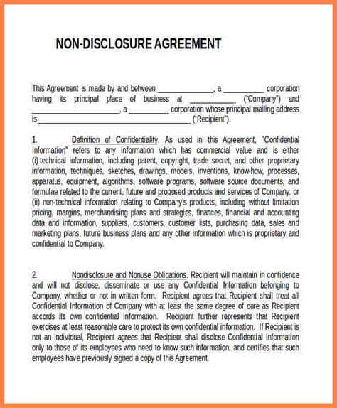 non disclosure confidentiality agreement template 5 standard non disclosure agreement template purchase