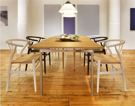 Oak Dining Room Table Chairs wishbone chair at the carl hansen showroom nyc hans