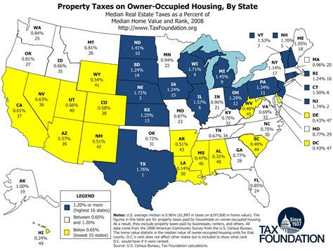 tax map map property taxes on owner occupied housing by state tax foundation