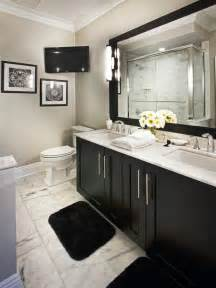 Black Vanity Bathroom Ideas by Classic Black And White Bathroom With Marble Floor Hgtv