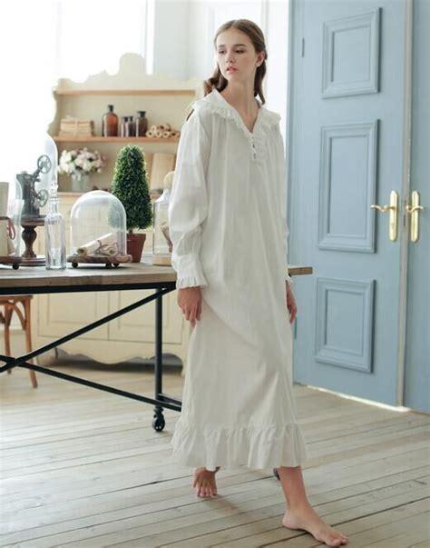 robe de chambre chaude vintage style 100 cotton nightgown white section