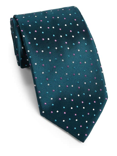 charvet tiny dots silk tie in green for lyst