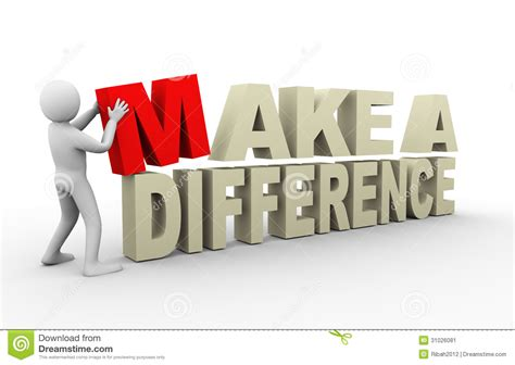 with a difference 3d with make a difference quote stock illustration