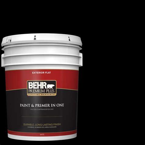 behr paint primer colors behr premium plus 5 gal black flat exterior paint and