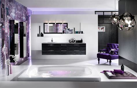 purple bathrooms black white and purple bathroom 2017 grasscloth wallpaper