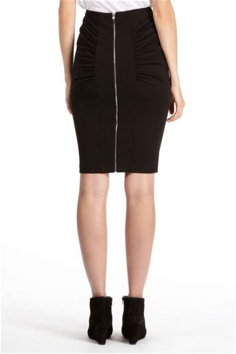 oasis rouched zip back pencil skirt in black lyst