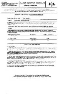 Blanket Certification Letter 061 pa code 167 31 13 claims for exemptions
