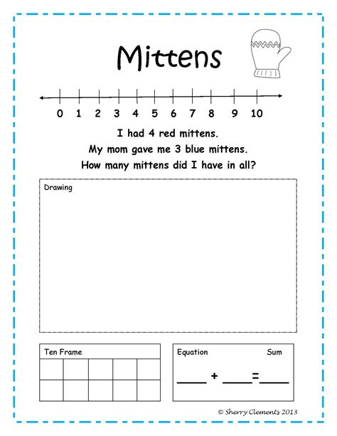 Number Story Worksheets For Grade by January Addition Word Problems Ten Frames Morning Work