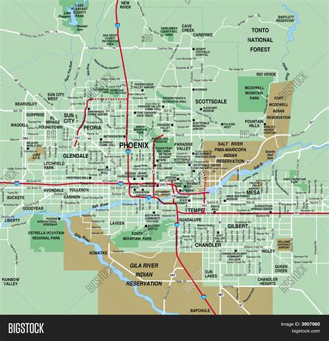 map of arizona and surrounding areas arizona metropolitan area map stock photo stock