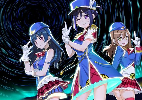Kaos Anime Matsuura Kanan Live School Idol Project 04 blue hair brown hair dress gloves hat kunikida hanamaru hair live school idol