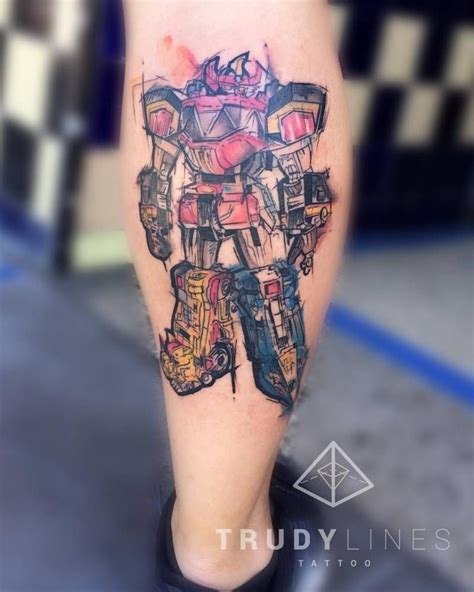 tattoo show on tv sketch work on the calf of the robot of the power