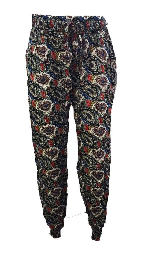 brown patterned pants womens floral paisley patterned full length harem pants
