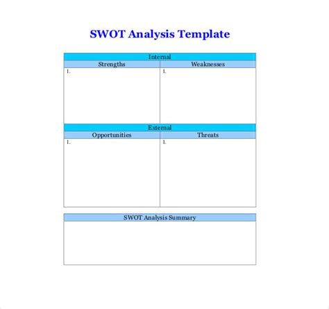swot analysis template doc editable swot analysis matrix template with summary table