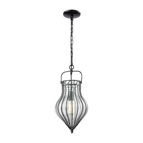 Black Glass Pendant Light Titan Lighting Adriano 1 Light Gloss Black With Clear Blown Glass Pendant Tn 473115 The Home Depot