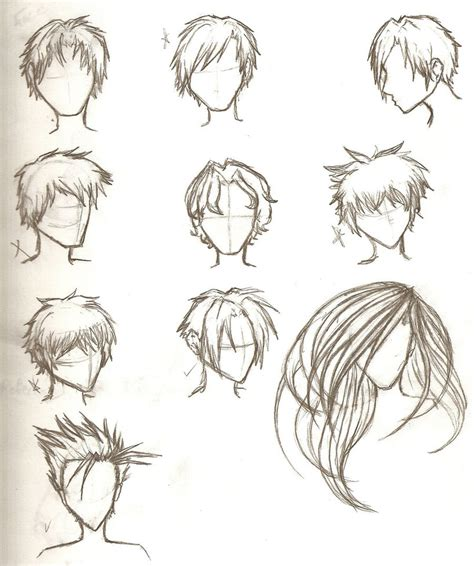 anime hairstyles for guys side view hair sketches by ajbluesox on deviantart