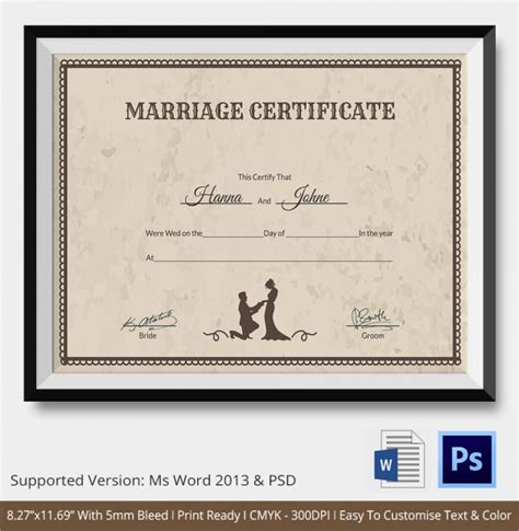marriage certificate templates sle marriage certificate template 18 documents in
