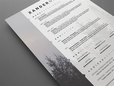 photoshop design templates for photographers photographer resume photoshop psd template on behance