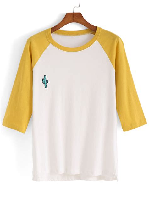 embroidery design t shirts dip hem color block embroidered t shirtfor women romwe