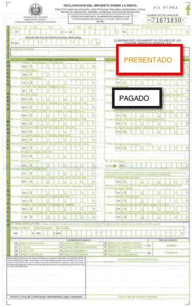 formulario para declaracion de renta en el salvador formulario de declaracion de renta el salvador