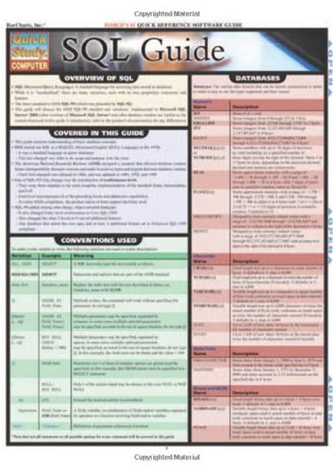Pdf Sql Guide Quickstudy Inc Barcharts pdf epub sql guide quickstudy computer ebook
