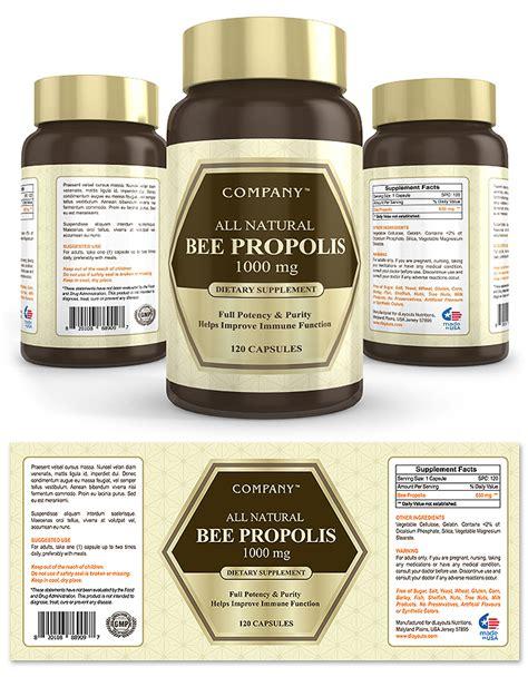 Bee Propolis Supplement Label Template Design Supplement Label Template
